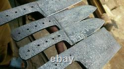 10 To 12 Handmade Damascus Steel Blank Blade Knives Kitchen Chef Set Of 4
