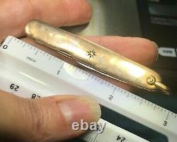 10k Yellow Gold 3 POCKET KNIFE w Gypsy Set Diamonds. 2 Steel Blades-b120 9 20