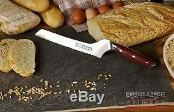 16pc. Knife Block set G10 Handle German Steel Full Tang CRIMSON Series Ergo Chef