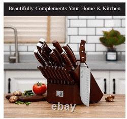19-Piece Premium Kitchen Knife Set With Wooden Block German Stainless Steel