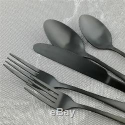 20 piece Stainless Steel Dinner Knife Spoon Silverware Matte Black Flatware Set