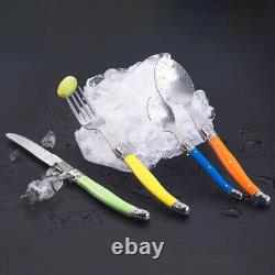 24pcs Laguiole Style Rainbow Flatware set Stainless steel Knife Fork Spoon +Box
