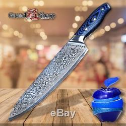 2 PCs Blue Set Knives Damascus VG10 Steel Chef Knife Sushi Utility Wood handle L