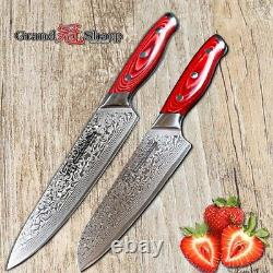 2 PCs Set Damascus Chef Knife 67 Layers Japanese Steel VG10 Santoku Sushi Salmon