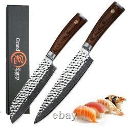 2 Pcs Knife Set Chef Santoku Knife Japanese vg10 Damascus Steel Kitchen Knives