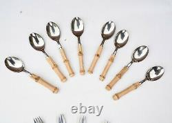 31 Pc Vtg Stainless Japan Real Bamboo Handle Stainless Steel Silverware Flatware