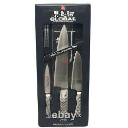 3pc Global Stainless Steel Santoku Chef Paring Knife Set G-10038109AB Made Japan