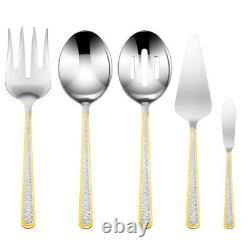 45 Piece Venezia Silverware Set for 8 18/10 Gold Plated Steel Flatware, Mimosa