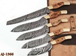 5HAND FORGED DAMASCUS STEEL CHEF KNIFE KITCHEN SET WithOlive Wood & Brass HANDLE