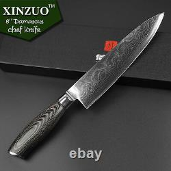 5Pcs Set Knives Inches Chef Knife Layers Japanese Damascus Steel Kitchen Sharp L