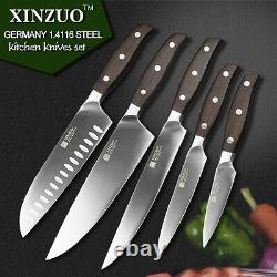 5Pcs Set Knives inches chef knife layers Japanese Damascus steel Wood Handle Han