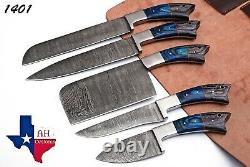5 Hand Forged Damascus Steel Chef Kitchen Knife Set With Wood Handle Ah 1401