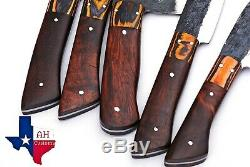 5 PIECES HAND FORGED RAILROAD SPIKE CARBON STEEL CHEF KNIFE SET Kitchen Set 1308