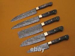 5 piece Kitchen knife set, Hand forged hammered Damascus steel suede roll sheath