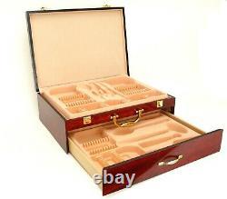 65-Piece Venezia Luna Flatware Set & Wood Storage Chest 18/10 Steel Silverware