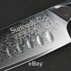 6PCS Damascus Steel Chef's Knife Sets Kitchen Santoku Slicing Paring Knife Set