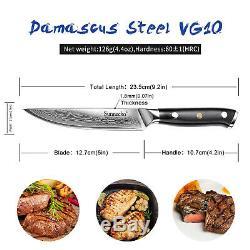 6PCS Japanese Damascus Steel 5 Steak Knives Sets Chef Kitchen Knife W Gift Box