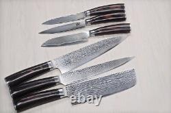 6 PCs Professional Japanese Damascus Steel Chef Kitchen Knife Set Santoku, Sushi
