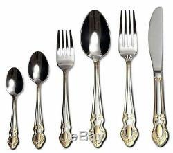 75 Piece Venezia Silverware Set for 12 18/10 Gold Plated Steel Flatware