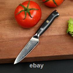 7PCS Kitchen Damascus Steel Knife Set Chef's Nakiri Slicing Bread Paring Knife