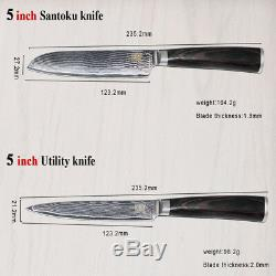 8 Pcs Professional Kitchen Knife Set 67 Layers Japanese VG10 Damascus Steel Chef