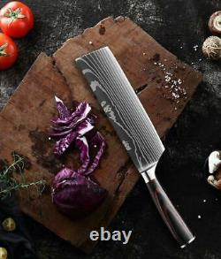 8pcs Kitchen Chef Knife Set Stainless Steel Damascus Pattern Sharp Cleaver Gift
