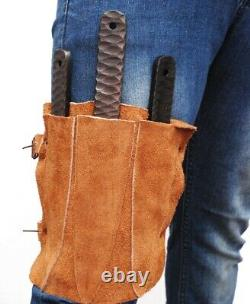 902 Custom Made Throwing Knives Set Of Three Steel Handle Leather Sheath