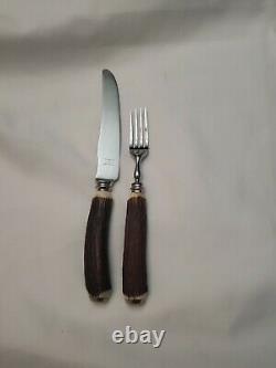 BIRKS Genuine Stag Antler Knife & Fork Set (6) SHEFFIELD Stainless Steel RARE