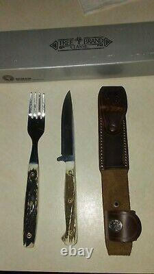 Boker Tree Brand Knife And Fork Camp Set Genuine Stag Handles Leather Sheath