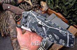 CFK Handmade D2 Tool Steel Custom Falcata Hunting Blade Knife & Kydex Sheath Set