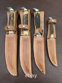 Case XX BLUE SCROLL 1977 Stag Fixed Blade complete 4 knife set w Sheaths Hunting