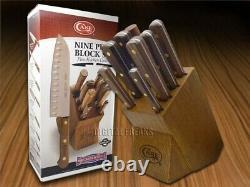 Case xx 9 Piece Kitchen Knife Set Walnut Wood Block Steel 10249