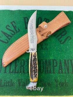 Case xx complete blue scroll fixed blade knife set 1977 pumpkin box and sheaths