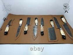 Chef Knife Set Full Handmade Damascus Steel Sharp Blades Kitchen Knives Tool