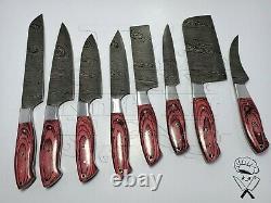 Chef Knife Set Fully Handmade Damascus Steel Sharp Blades Kitchen Knives Tools