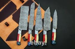 Custom Hand Forged Damascus Steel Chef Knife Set, 5 Kitchen Knives Knife In Fire
