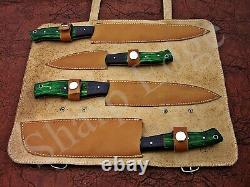 Custom Hand Made Damascus Steel Kitchen Knife Set/Chef Knives 4 pieces SE 109000