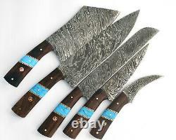 Custom Handmade Damascus Steel 5 Pc's Knife Chef Set with Turquoise/Wood Handle