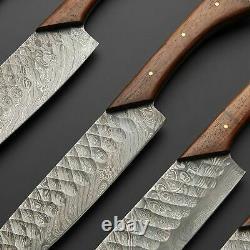 Custom Handmade Damascus Steel 5 Piece Kitchen Knives set knife set Leather Bag
