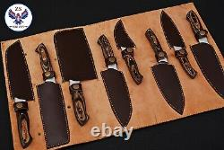 Custom Handmade Damascus Steel Chef Knife Kitchen Set Zs 46
