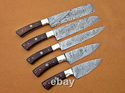 Custom Handmade Damascus Steel Chef Set/kitchen Knives 5 Pcs, Natural Wood Art