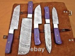 Custom Handmade Damascus Steel Chef Set/kitchen Knives 5 Pcs, Purple Bone
