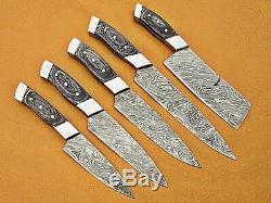 Custom Handmade Damascus Steel Chef Set/kitchen Knives 5 Pcsc Black Micarta