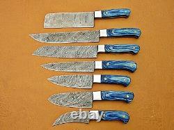 Custom Handmade Damascus Steel Chef Set/kitchen Knives 7 Pcs Blue Micarta Sheet