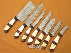 Custom Handmade Damascus Steel Chef Set/kitchen Knives 7 Pcs Camel Bone, Wood