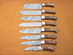 Custom Handmade Damascus Steel Chef Set/kitchen Knives 8 Pcs Natural Wood