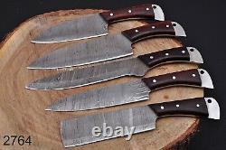 Custom Handmade HAND FORGED DAMASCUS STEEL CHEF KNIFE Set Kitchen Knives-Pro12