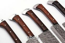 Custom Handmade HAND FORGED DAMASCUS STEEL CHEF KNIFE Set Kitchen Knives -Pro12