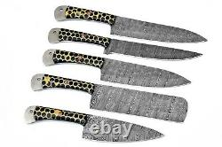 Custom Handmade Hand Forged Damascus Steel Chef Knife Set Kitchen Knives-156