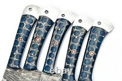 Custom Handmade Hand Forged Damascus Steel Chef Knife Set Kitchen Knives-157